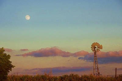 Digital Art - Sunset Moonrise With Windmill  by Shelli Fitzpatrick