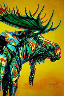 Brilliant Painting - Sunset Moose by Derrick Higgins