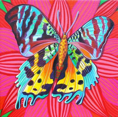 Multi Colored Painting - Sunset Moth by Jane Tattersfield