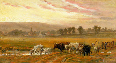 Village Church Painting - Sunset Near Amberley by Alfred Fitzwalter Grace