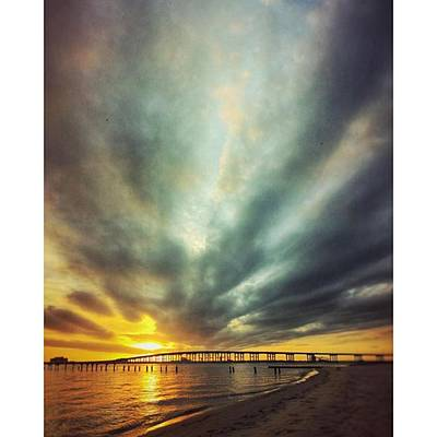 Landscapes Photograph - Sunset #oceanspringsms #biloxibaybridge by Joan McCool