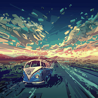 Rural Digital Art - Sunset Oh The Road by Bekim Art