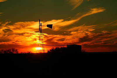 Birds Rights Managed Images - Sunset on a windmill Jal New Mexico Royalty-Free Image by Jeff Swan