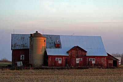 Photograph - Sunset On A Wisconsin Farm by Jean Haynes