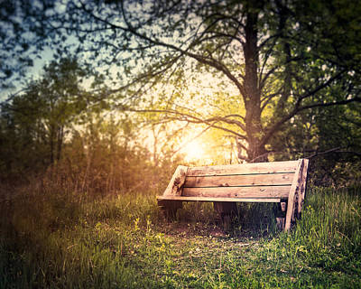 Lens Photograph - Sunset On A Wooden Bench by Scott Norris