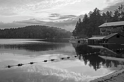 Photograph - Sunset On Ampersand Bay Saranac Lake Ny Black And White by Toby McGuire