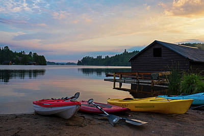 Photograph - Sunset On Ampersand Bay Saranac Lake Ny Kayaks by Toby McGuire