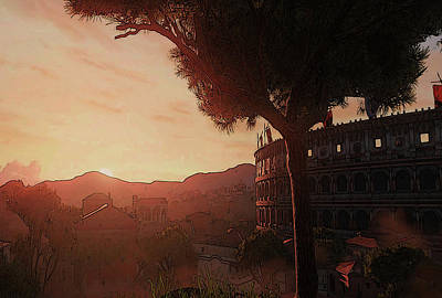 Painting - Sunset On Ancient Rome by Andrea Mazzocchetti