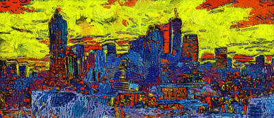 Painting - Sunset On Atlanta Skyline by Dan Sproul
