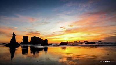 Photograph - Sunset On Bandon by Walt Baker
