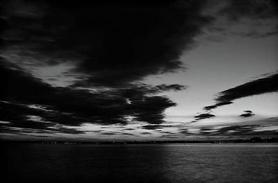 Photograph - Sunset On Barnegat Bay In Black And White by Angie Tirado
