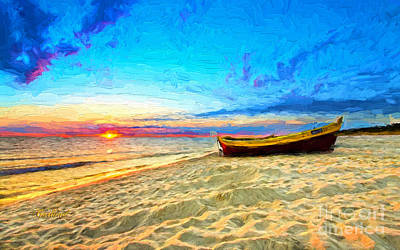 Row Boat Mixed Media - Sunset On Beach With Boat by Garland Johnson