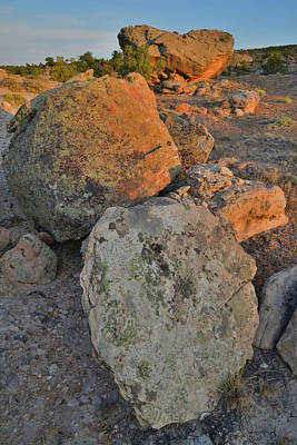 Photograph - Sunset On Bentonite Site Boulders by Ray Mathis