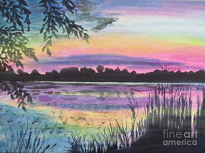 Painting - Sunset On Buck Pond by Judy Via-Wolff