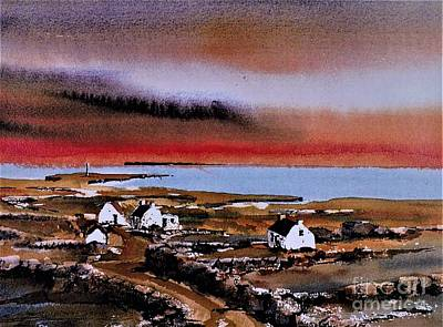 Painting - Sunset On Bungowla, Inishmor, Aran. by Val Byrne
