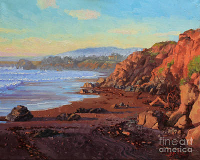 Flying Seagull Painting - Sunset On Cambria Ca by Gary Kim