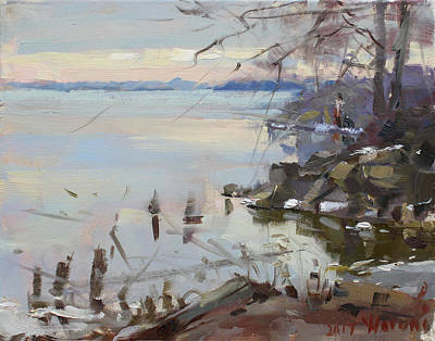 Fishermen Painting - Sunset On Fishermans Park - North Tonawanda by Ylli Haruni