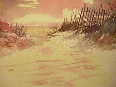 Sunset On  Florida Beach Art Print by Walt Maes
