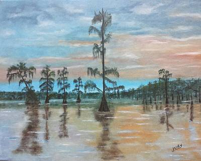 Painting Royalty Free Images - Sunset on Henderson Swamp Royalty-Free Image by Judy Jones
