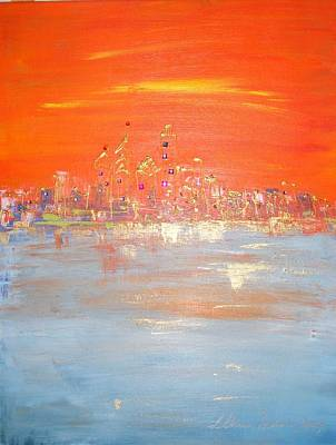 Painting - Sunset On Ice by Lilliana Didovic