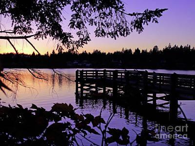 Sunset On Lake Ballinger Art Print by Eddie Eastwood