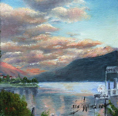 Italian Landscape Painting - Sunset On Lake Locarno by Leah Wiedemer