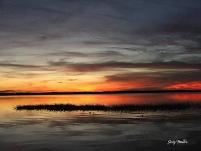 Sunset On Lake Lochloosa Art Print by Judy  Waller