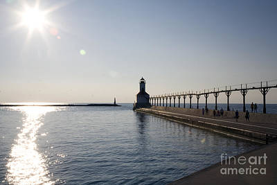 Sunset On Lake Michigan Art Print by Jeannie Burleson