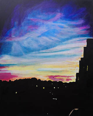 London Skyline Painting - Sunset On London by Katherine Klauber