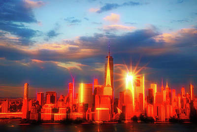 Photograph - Sunset On Lower Manhattan # 2 by Allen Beatty