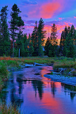Sunset On Lucky Dog Creek Art Print by Greg Norrell