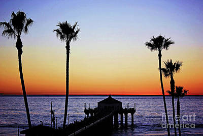 Sunset On Manhattan Beach Pier Art Print