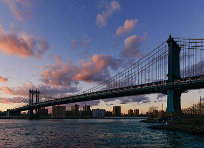 Photograph - Sunset On Manhattan Bridge by Dick Wood