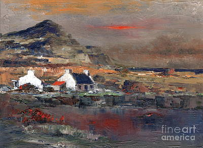 Mixed Media - Sunset On Mount Errigal, Dunegal by Val Byrne