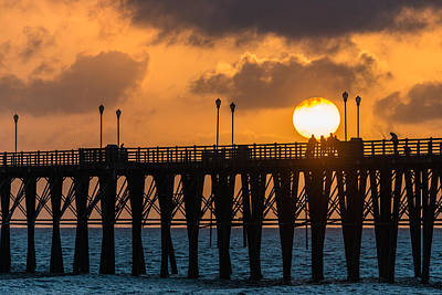 Sunset On Oceanside Pier - California Coast Photograph Art Print by Duane Miller