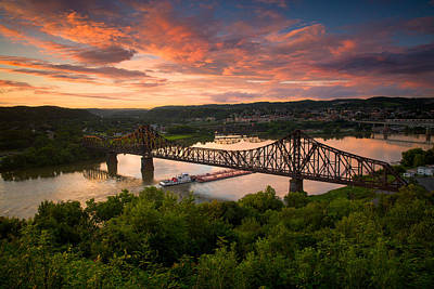 Photograph - Sunset On Ohio River  by Emmanuel Panagiotakis
