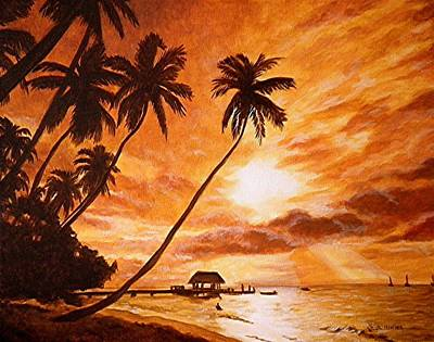 Beach Sunset Painting - Sunset On Paradise Cove by Al  Molina