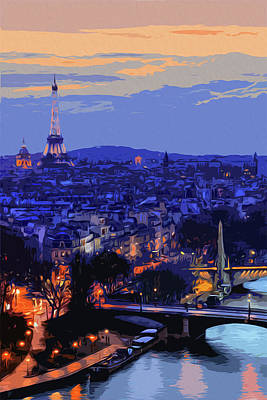 Painting - Sunset On Paris by Andrea Mazzocchetti