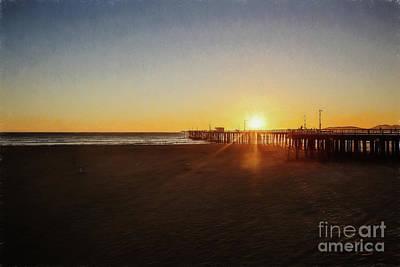 Photograph - Sunset On Pismo Beach - Digital Pencil by Scott Pellegrin