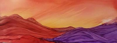 Sunset On Red And Purple Hills Art Print