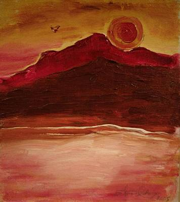 Painting - Sunset On Red Mountain by Edward Longo