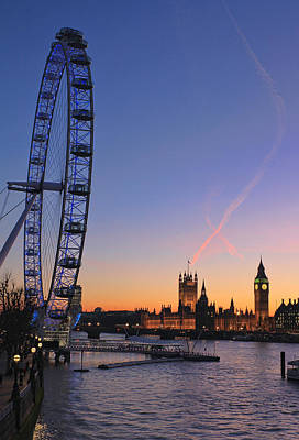 London Eye Photograph - Sunset On River Thames by Jasna Buncic