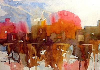 Painting - Sunset On Ruins Abstract  by Ellen Levinson