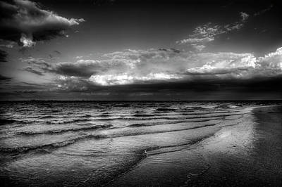Dramatic Photograph - Sunset On Sanibel In Black And White by Chrystal Mimbs