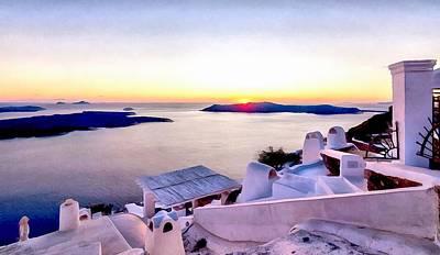 Digital Art - Sunset On Santorini by Sergey Simanovsky