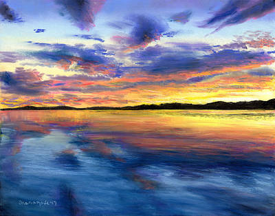 Drawing - Sunset On Snow Pond by Shana Rowe Jackson