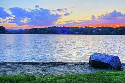Photograph - Sunset On Spy Pond Arlington Ma Beach by Toby McGuire