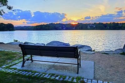 Photograph - Sunset On Spy Pond Arlington Ma Bench by Toby McGuire