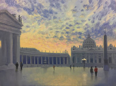 Painting - Sunset On St. Peter's Square by Timothy Jones