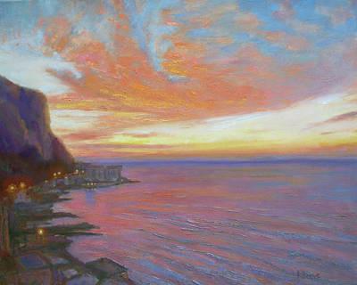 Sunset On The Amalfi Coast Art Print by Robie Benve